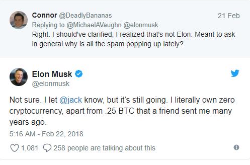 tweet de Elon Musk sobre sus criptmonedas