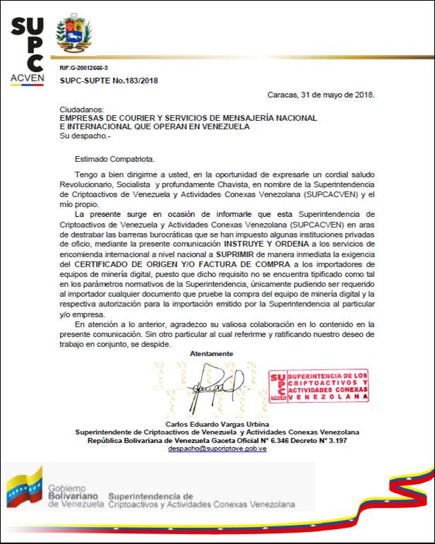 la Superintendencia de Criptoactivos de Venezuela y Actividades Conexas