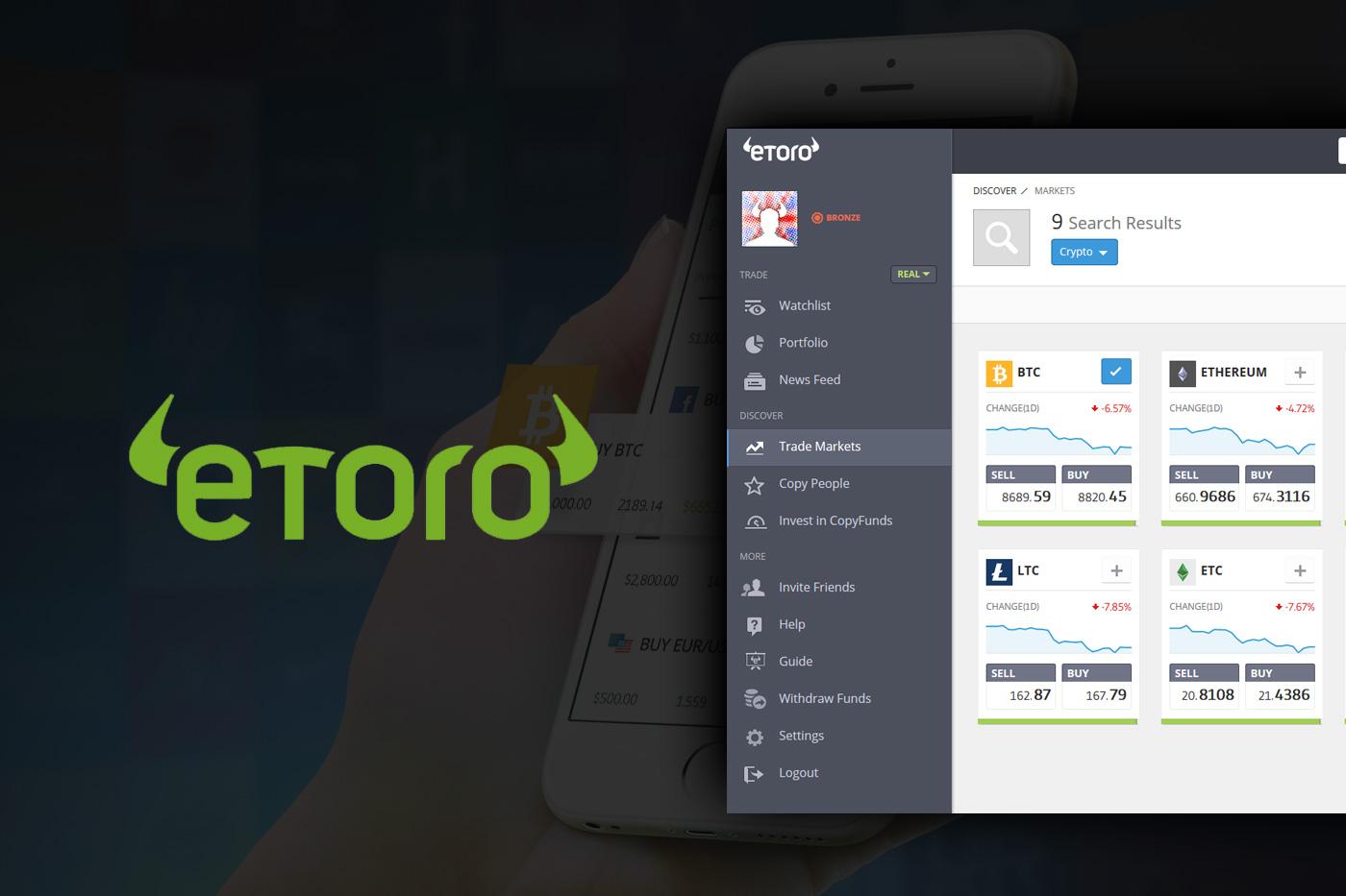 La plataforma eToro lanza una aplicación móvil de gestión de datos para criptomonedas