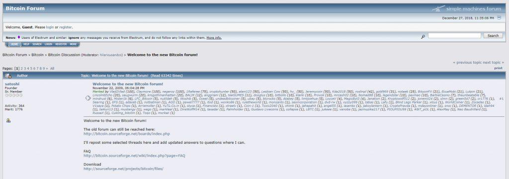 Captura de Pantalla de publicación de Satoshi en Bitcointalk