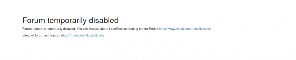 Foro de LocalBitcoin cerrado