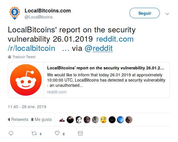 Tweet de LocalBitcoin anunciando la falla de seguridad.