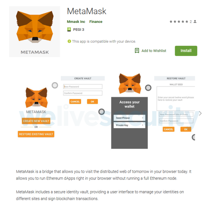 MetaMask malware app en Google Play