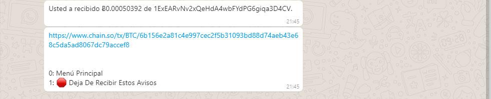 Confirmación de la recepción de bitcoin en whatsapp