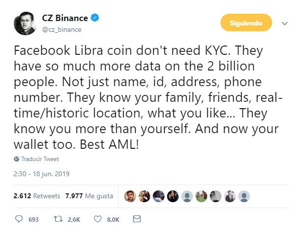 CEO de binance opina sobre La moneda LIBRA