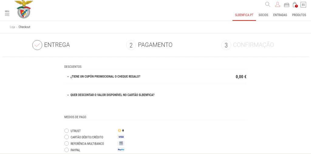 Pago en la página del Benfica con UTRUST habilitado