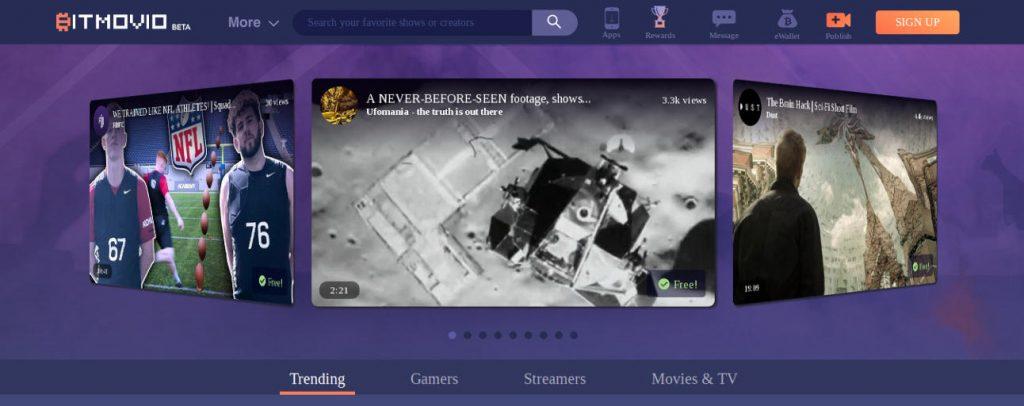 BitMovio y su web principal, BitMovio streamig de vídeo que paga por ver y crear, BitMovio vídeo streaming freemium