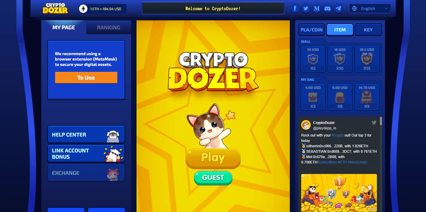 Sitio web del videojuegoblockchain CryptoDozer