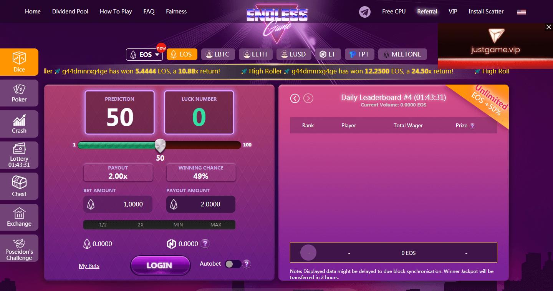 Portal web de Endless Game