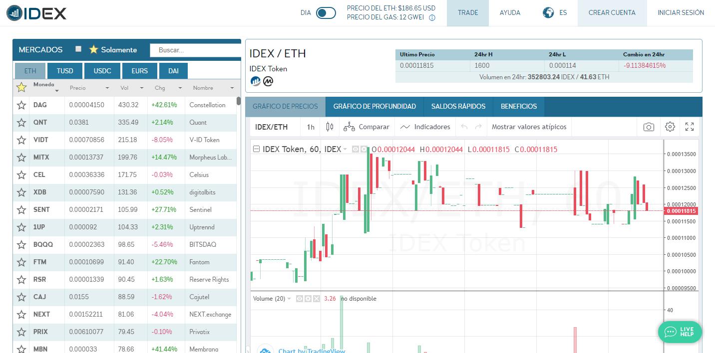 Portal web de la plataforma de intercambio blockchain IDEX