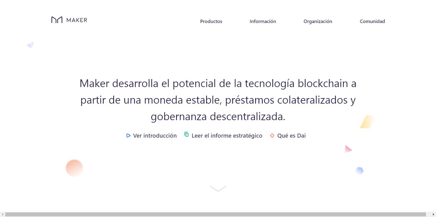 Sitio web de la plataforma MakerDAO