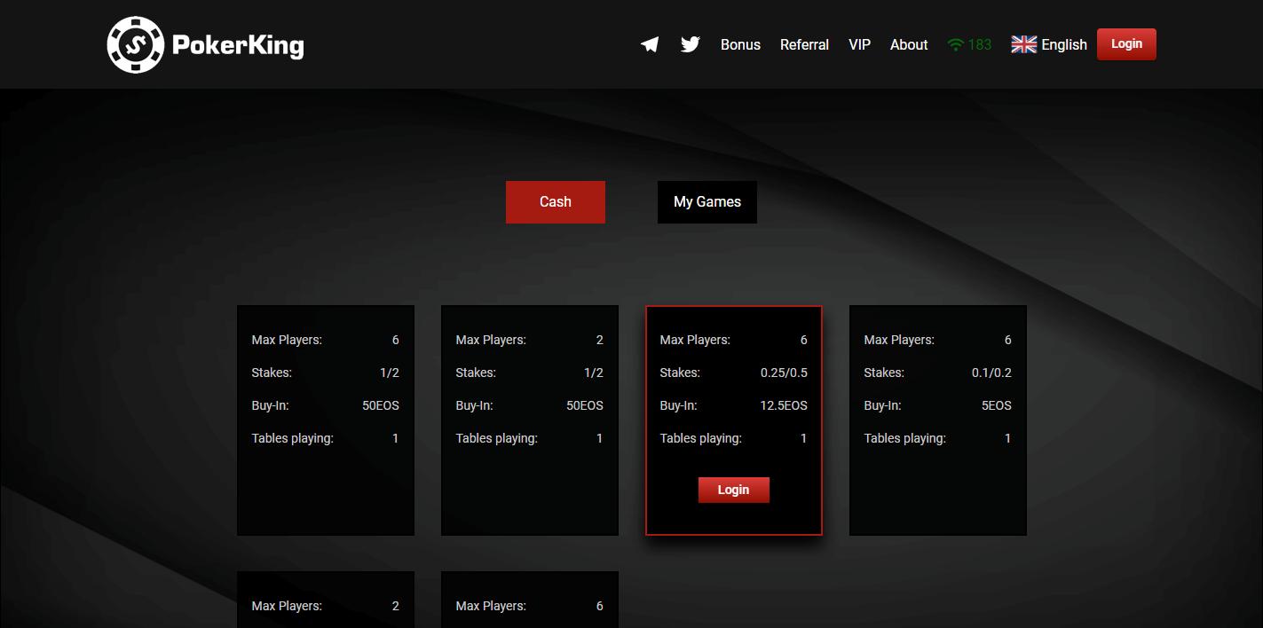 Sitio web de la plataforma blockchain PokerKing