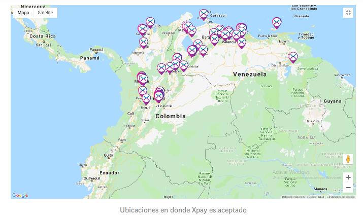 Puntos que aceptan XPay en Colombia y Venezuela