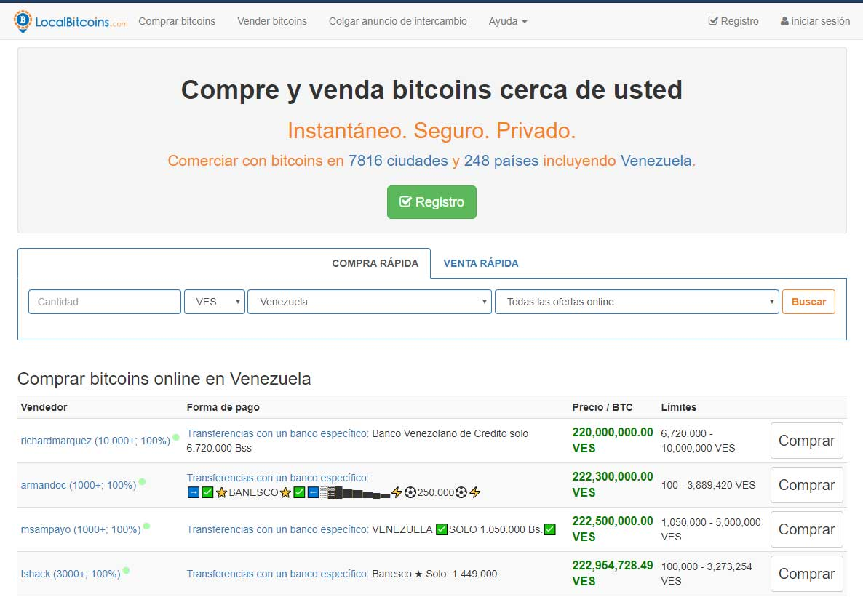 Captura de pantalla de comprar bitcoin en localbitcoin