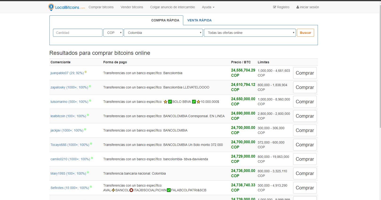 Comprar bitcoin en Colombia en Localbitcoin.com