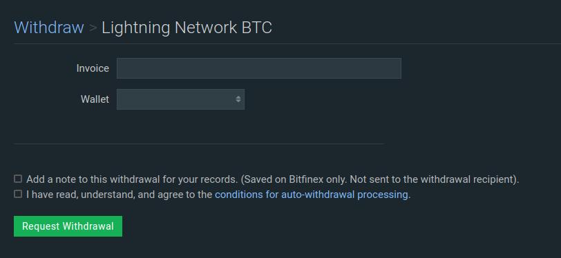 retiro vía Lightning Network BTC en Bitfinex
