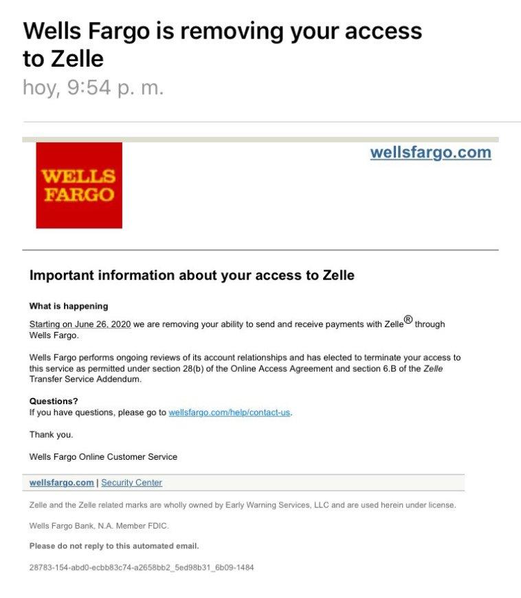 Wells Fargo suspende Zelle en Venezuela