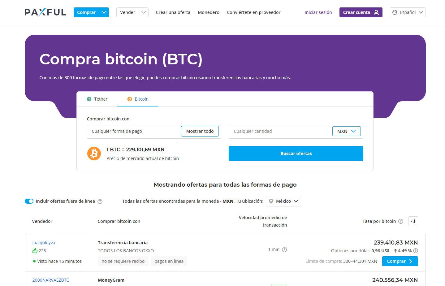 Comprar bitcoin en paxful