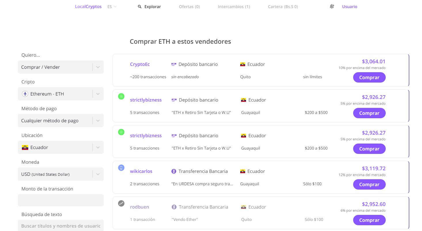 Comprar criptomonedas en Ecuador